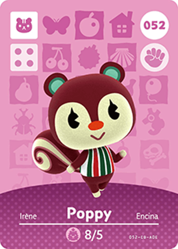 Amiibo Cards Animal Crossing Series 1 Poppy
