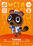 Amiibo Cards Animal Crossing Series 2 Tommy