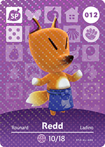 Amiibo Cards Animal Crossing Series 1 Redd