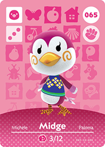 Amiibo Cards Animal Crossing Series 1 Midge