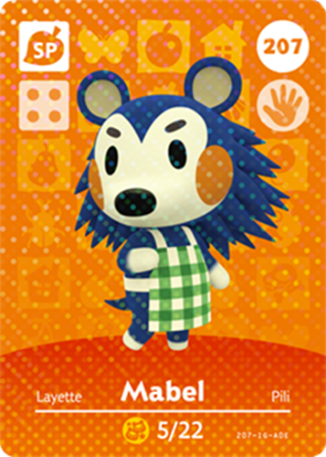 Amiibo Cards Animal Crossing Series 3 Mabel
