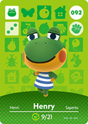 Amiibo Cards Animal Crossing Series 1 Henry
