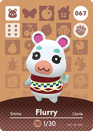 Amiibo Cards Animal Crossing Series 1 Flurry