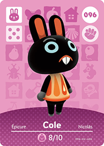 Amiibo Cards Animal Crossing Series 1 Cole
