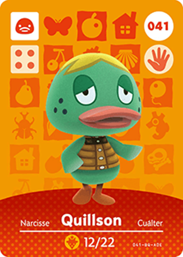 Amiibo Cards Animal Crossing Series 1 Quillson