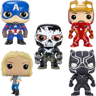 Funko Pop! Marvel Captain America, Iron Man, Agent 13, Black Panther & Crossbones (Civil War) (5-Pack)