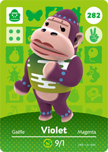 Amiibo Cards Animal Crossing Series 3 Violet
