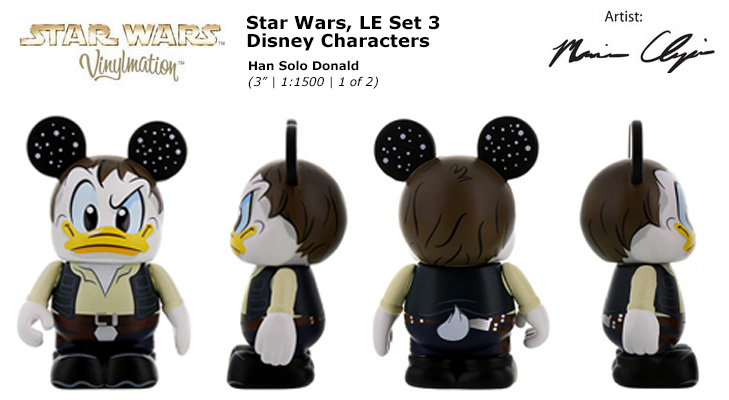 Vinylmation Open And Misc Star Wars Disney Set 3 Han Solo Donald