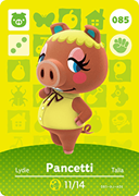 Amiibo Cards Animal Crossing Series 1 Pancetti