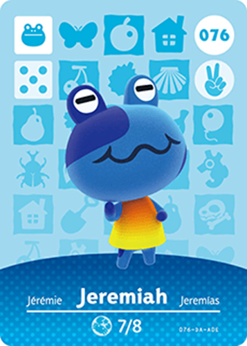 Amiibo Cards Animal Crossing Series 1 Jeremiah