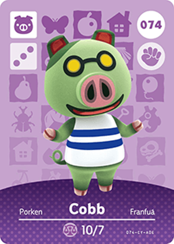 Amiibo Cards Animal Crossing Series 1 Cobb