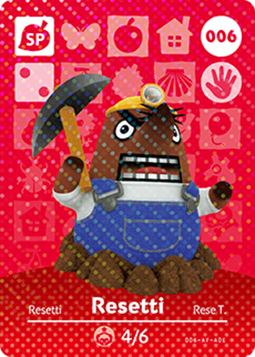 Amiibo Cards Animal Crossing Series 1 Resetti