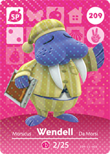 Amiibo Cards Animal Crossing Series 3 Wendell