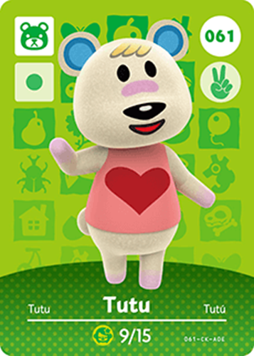 Amiibo Cards Animal Crossing Series 1 Tutu