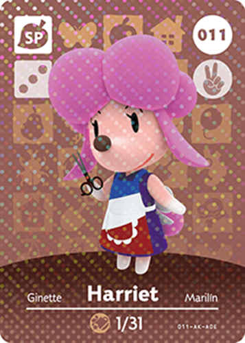 Amiibo Cards Animal Crossing Series 1 Harriet