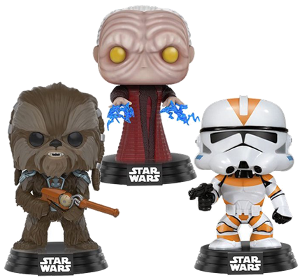 Funko Pop! Star Wars Tarfful, Unhooded Emperor, & Utapau Clone Trooper