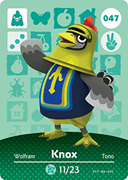 Amiibo Cards Animal Crossing Series 1 Knox
