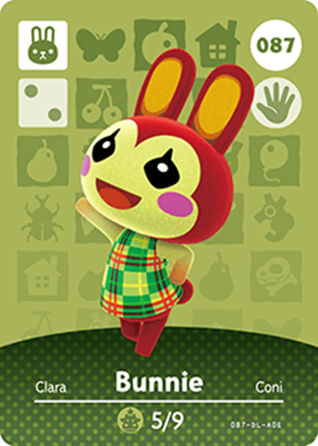 Amiibo Cards Animal Crossing Series 1 Bunnie Icon