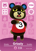 Amiibo Cards Animal Crossing Series 4 Grizzly