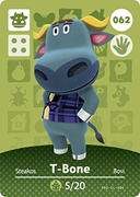 Amiibo Cards Animal Crossing Series 1 T-Bone