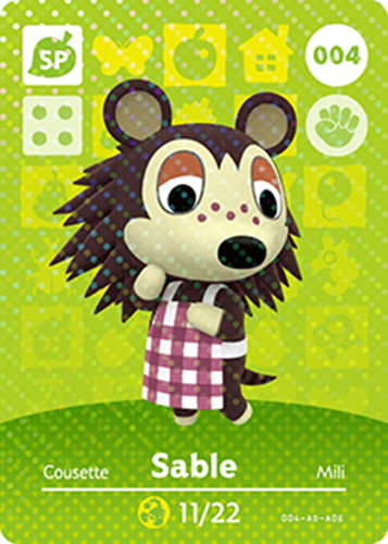 Amiibo Cards Animal Crossing Series 1 Sable