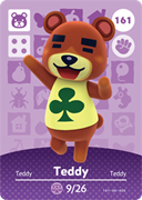 Amiibo Cards Animal Crossing Series 2 Teddy