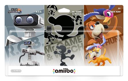 Amiibo Super Smash Bros. R.O.B., Mr. Game and Watch, Duck Hunt (3-Pack) Stock