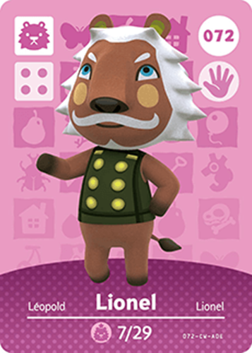 Amiibo Cards Animal Crossing Series 1 Lionel