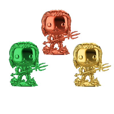 Funko Pop! Heroes Aquaman-Chrome Arthur Curry in Hero Suit 3-Pack Icon