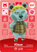 Amiibo Cards Animal Crossing Series 3 Klaus
