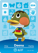 Amiibo Cards Animal Crossing Series 1 Deena