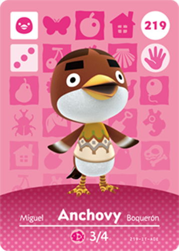 Amiibo Cards Animal Crossing Series 3 Anchovy