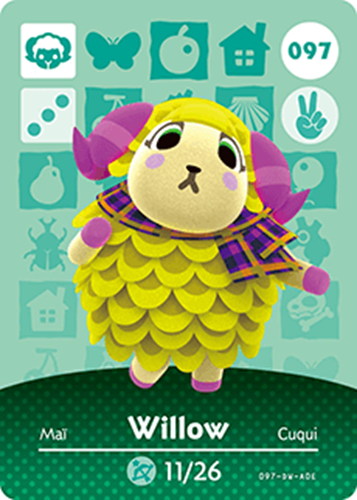 Amiibo Cards Animal Crossing Series 1 Willow