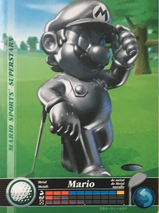 Amiibo Cards Mario Sports Superstars Metal Mario - Golf Icon