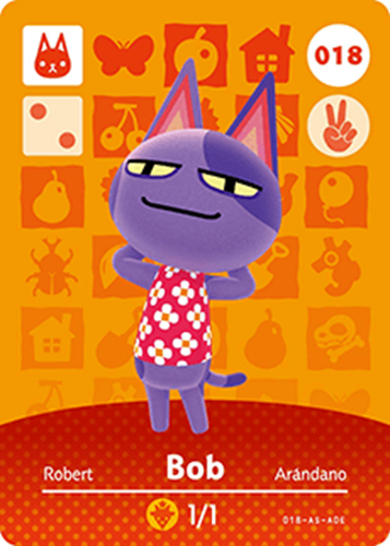 Amiibo Cards Animal Crossing Series 1 Bob