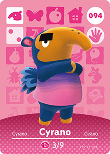 Amiibo Cards Animal Crossing Series 1 Cyrano