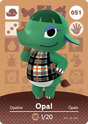 Amiibo Cards Animal Crossing Series 1 Opal