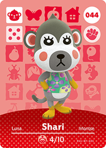 Amiibo Cards Animal Crossing Series 1 Shari Icon