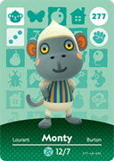 Amiibo Cards Animal Crossing Series 3 Monty