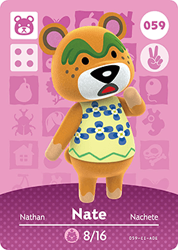 Amiibo Cards Animal Crossing Series 1 Nate Icon