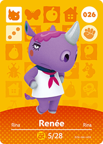 Amiibo Cards Animal Crossing Series 1 Renee