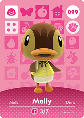 Amiibo Cards Animal Crossing Series 1 Molly Icon