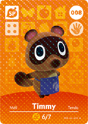 Amiibo Cards Animal Crossing Series 1 Timmy