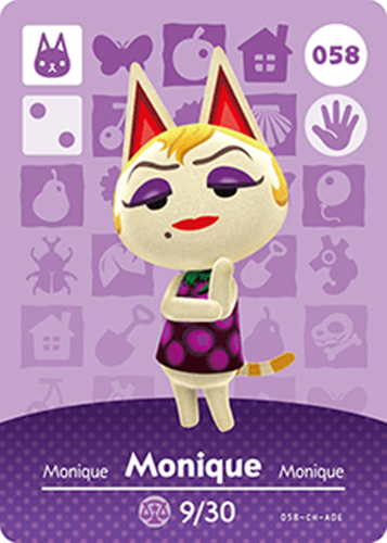 Amiibo Cards Animal Crossing Series 1 Monique