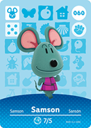 Amiibo Cards Animal Crossing Series 1 Samson