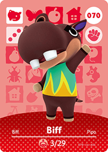 Amiibo Cards Animal Crossing Series 1 Biff