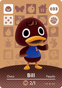Amiibo Cards Animal Crossing Series 1 Bill