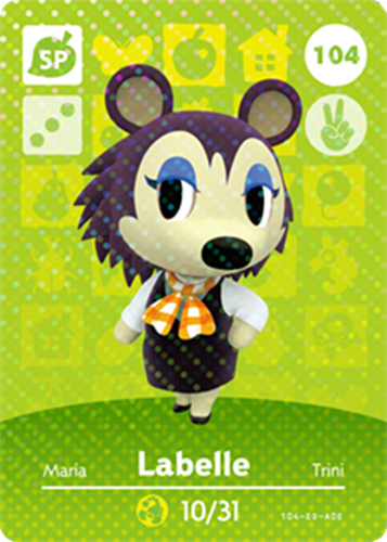 Amiibo Cards Animal Crossing Series 2 Labelle