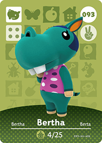 Amiibo Cards Animal Crossing Series 1 Bertha
