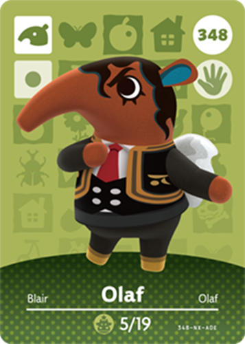 Amiibo Cards Animal Crossing Series 4 Olaf